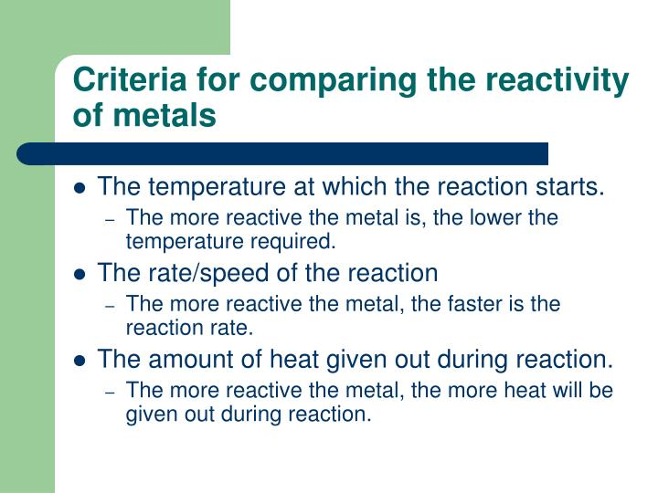 Criteria for comparing the reactivity of metals