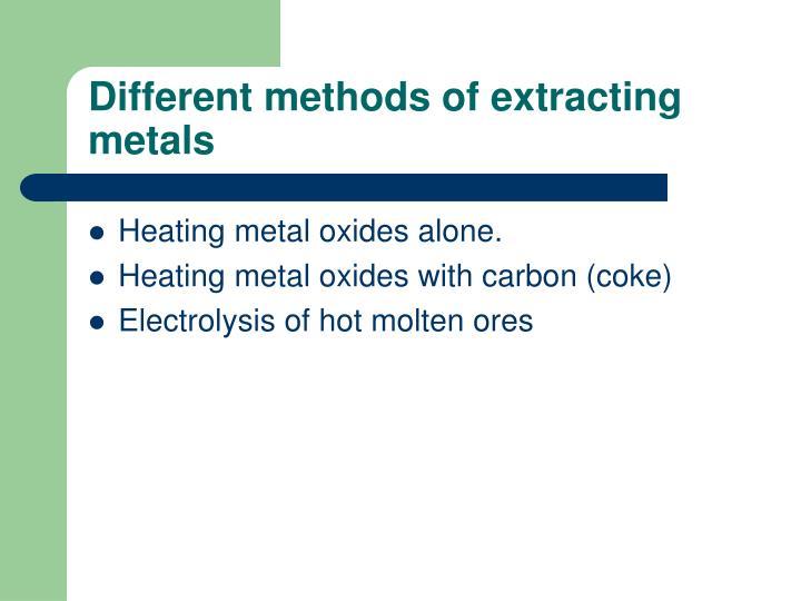 Different methods of extracting metals