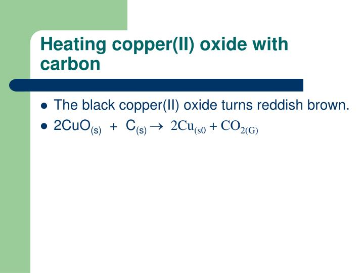 Heating copper(II) oxide with carbon