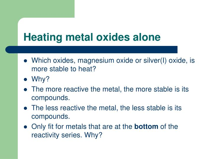 Heating metal oxides alone
