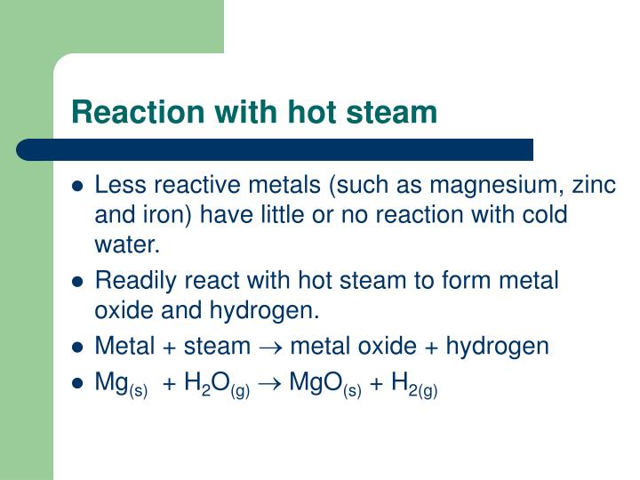 Reaction with hot steam