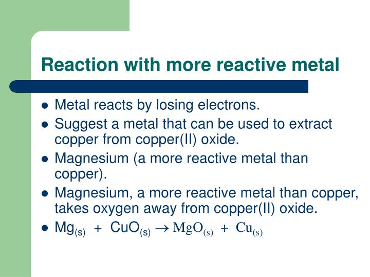 Reaction with more reactive metal