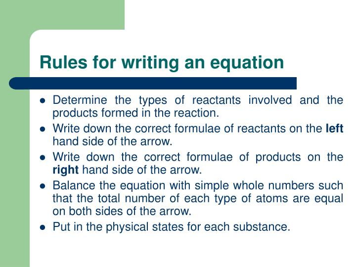 Rules for writing an equation