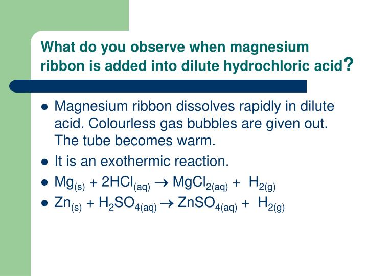 What do you observe when magnesium ribbon is added into dilute hydrochloric acid