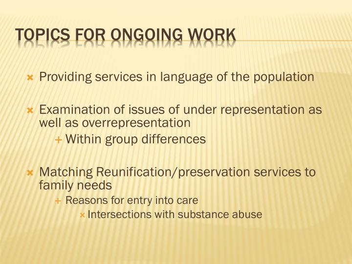 Providing services in language of the population