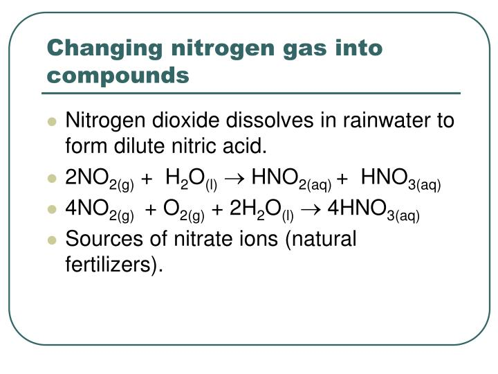 Changing nitrogen gas into compounds