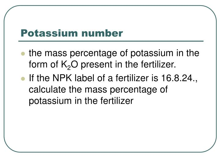Potassium number