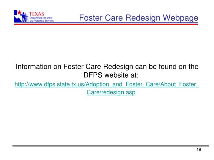 Foster Care Redesign Webpage