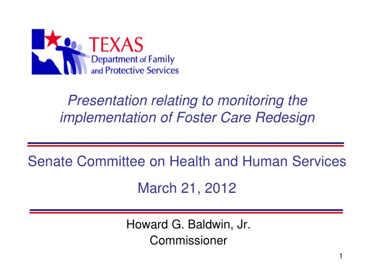 Presentation relating to monitoring the implementation of Foster Care Redesign