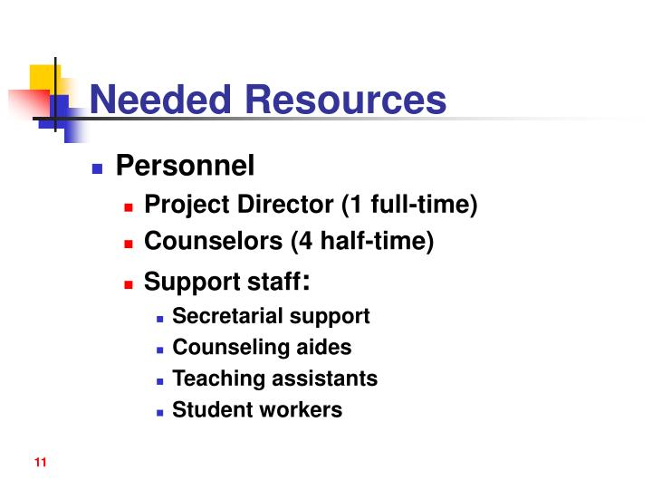 Needed Resources