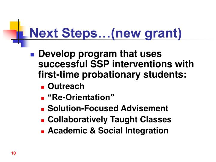 Next Steps…(new grant)
