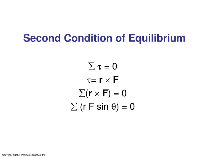 Second Condition of Equilibrium