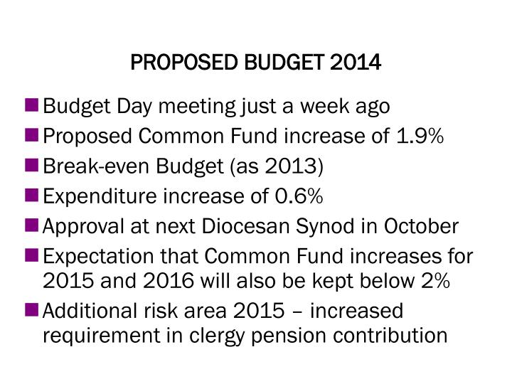 Proposed budget 2014
