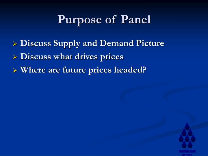 Purpose of panel
