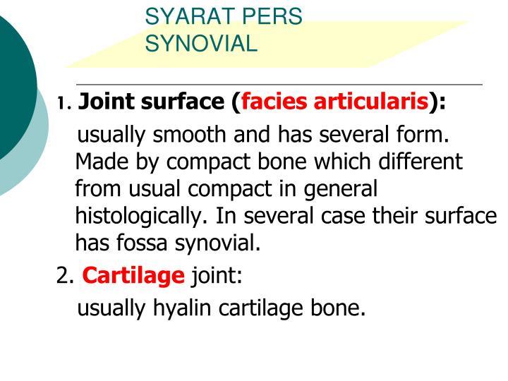 SYARAT PERS SYNOVIAL