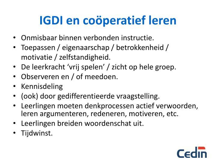IGDI en coöperatief leren