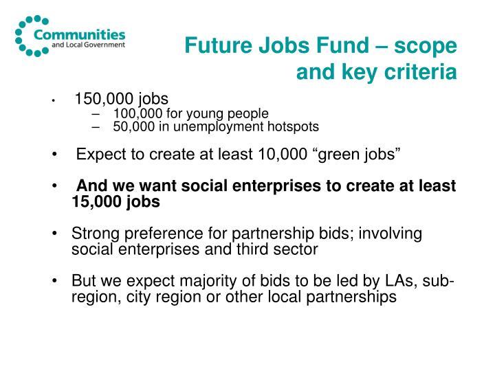 Future Jobs Fund – scope and key criteria