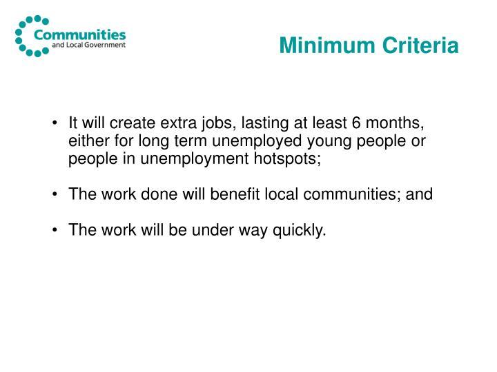 Minimum Criteria