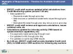 highlights of requirements timeline for available credit limit acl
