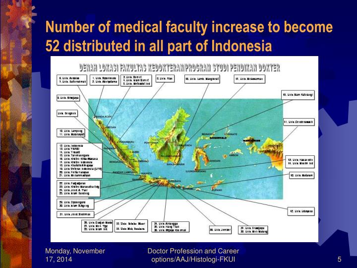 Number of medical faculty increase to become 52 distributed in all part of Indonesia