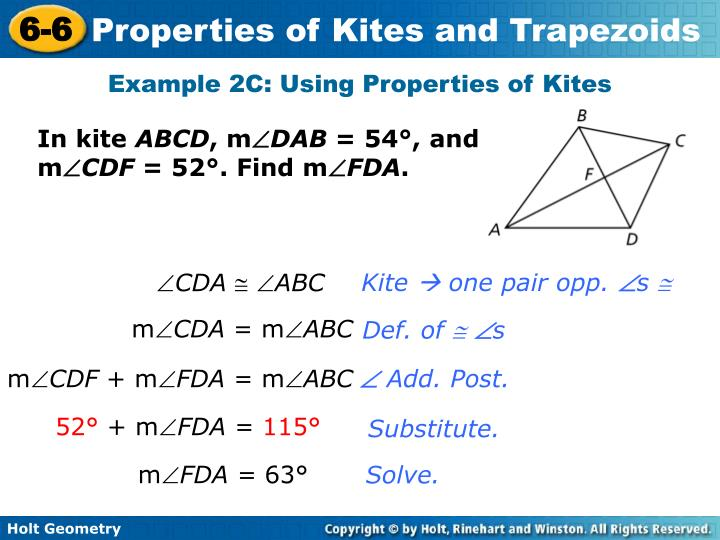 Example 2C: Using Properties of Kites