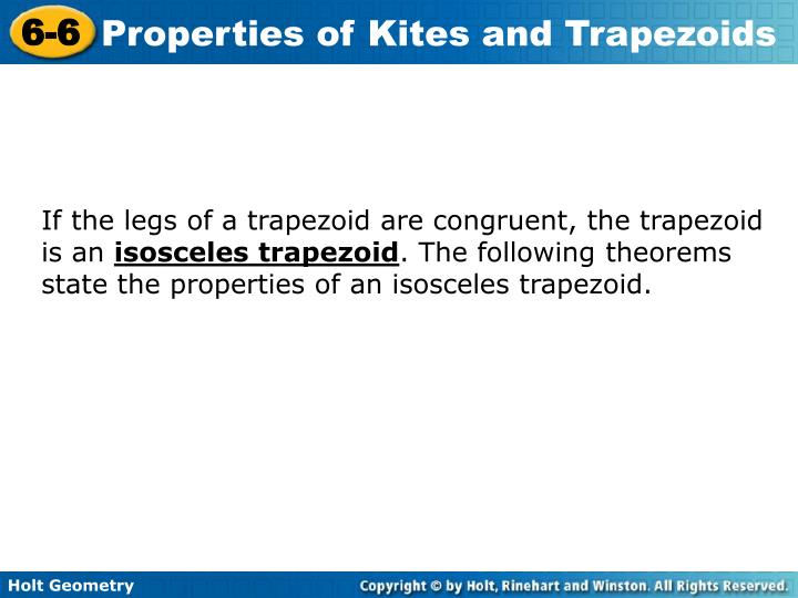 If the legs of a trapezoid are congruent, the trapezoid is an