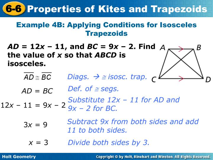 Example 4B: Applying Conditions for Isosceles Trapezoids