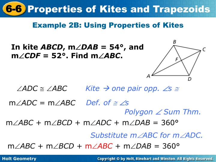 Example 2B: Using Properties of Kites