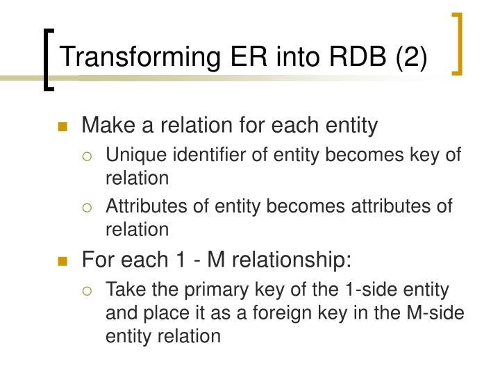 Transforming ER into RDB (2)