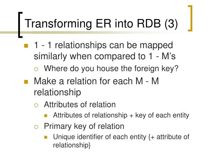 Transforming ER into RDB (3)