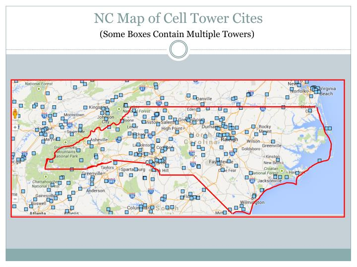 Nc map of cell tower cites