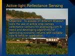 active light reflectance sensing