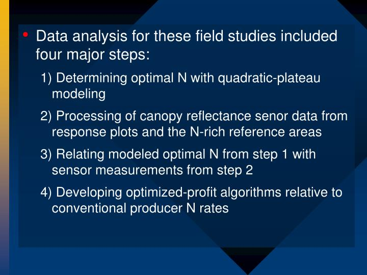 Data analysis for these field studies included four major steps: