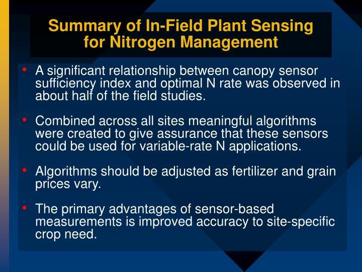 Summary of In-Field Plant Sensing