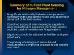summary of in field plant sensing for nitrogen management