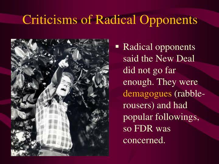 Criticisms of Radical Opponents