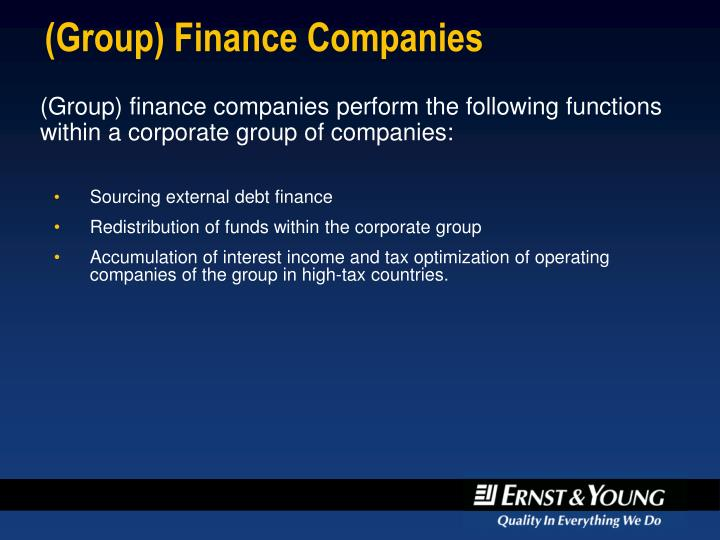 (Group) Finance Companies