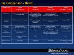 tax comparison matrix