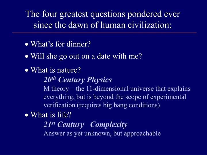 The four greatest questions pondered ever since the dawn of human civilization: