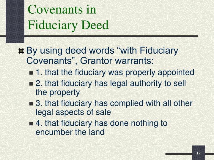 Covenants in