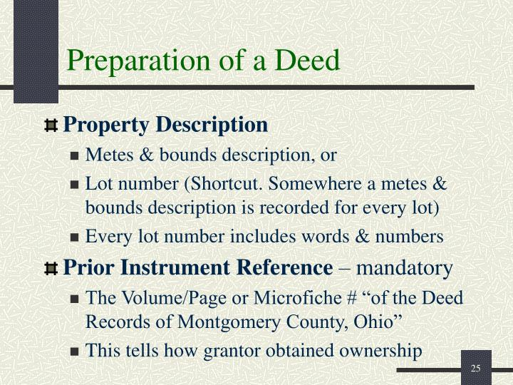 Preparation of a Deed