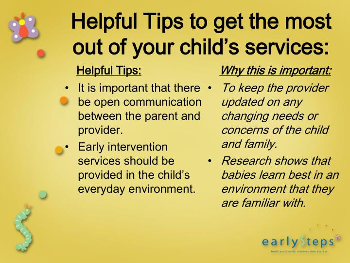 It is important that there be open communication between the parent and provider.