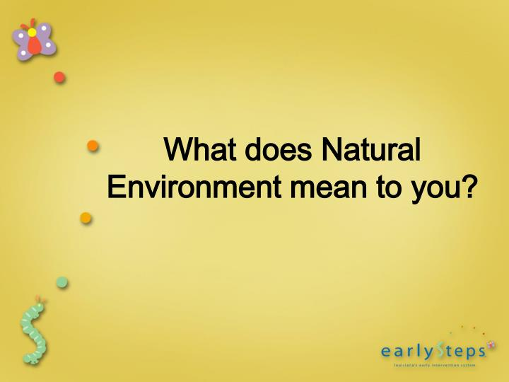 What does Natural Environment mean to you?