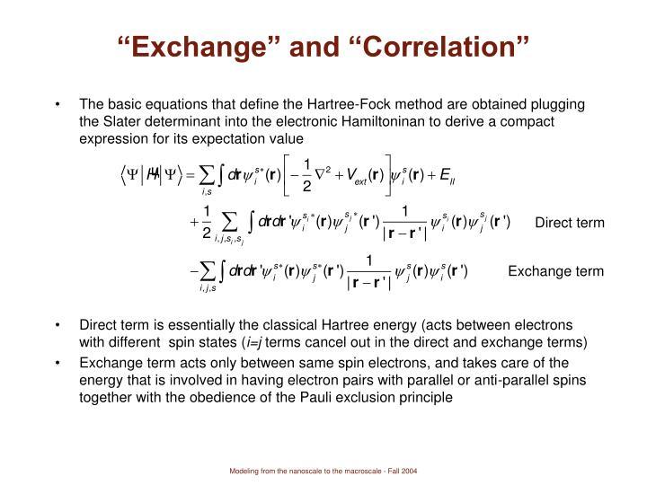 """""""Exchange"""" and """"Correlation"""""""