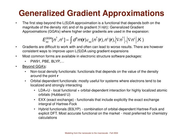 Generalized Gradient Approximations