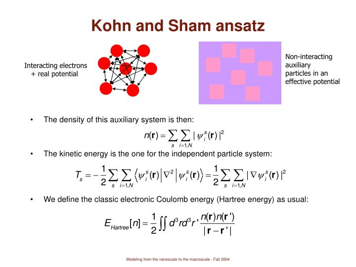 Kohn and Sham ansatz
