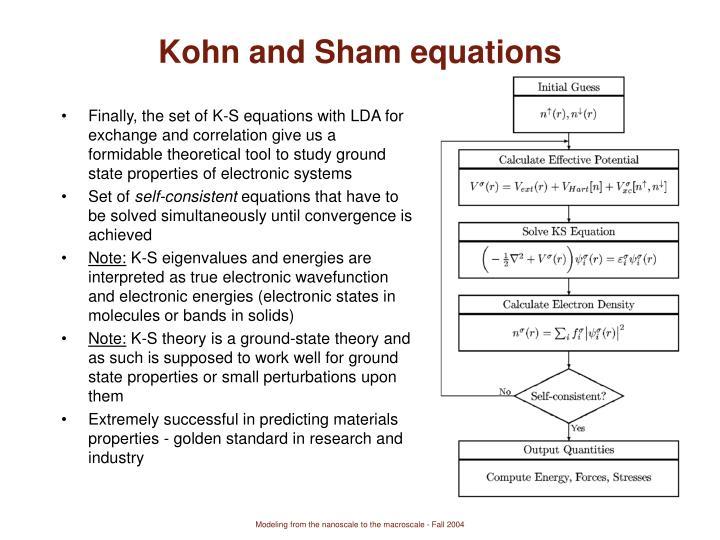 Kohn and Sham equations