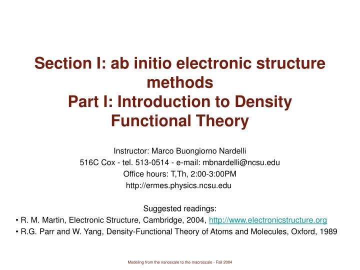 section i ab initio electronic structure methods part i introduction to density functional theory