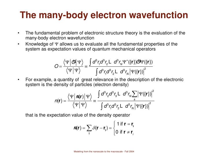 The many-body electron wavefunction