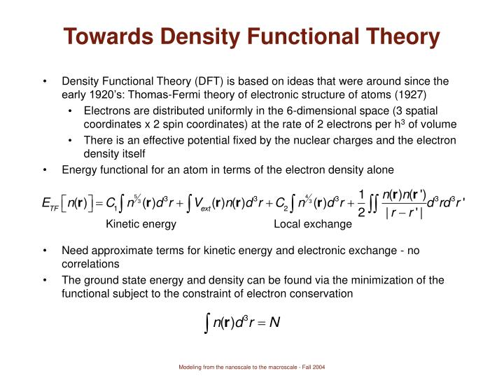 Towards Density Functional Theory